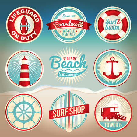 separation: Vintage set of beach labels and badges. EPS 10 available with gradient mesh. EPS file is organized, grouped, and layered for easy separation of designs.