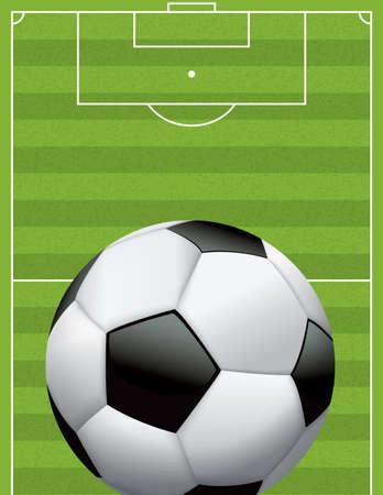 sideline: Una pelota de f�tbol realista - bal�n de f�tbol en un campo de juego de hierba con textura. Vectores