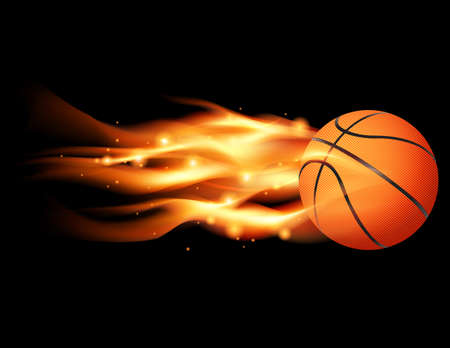 An illustration of a flaming basketball flying through a black  Vector
