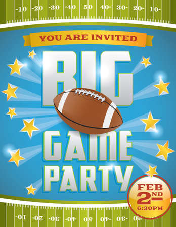 football party: A flyer design perfect for tailgate parties. Illustration