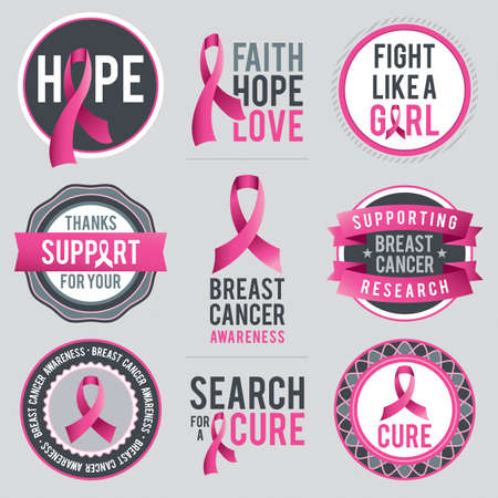 Breast Cancer Awareness ribbons and badges.