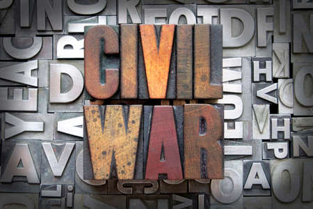 Civil War written in vintage letterpress type photo