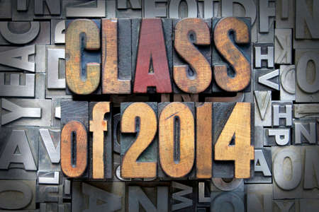 Class of 2014 written in vintage letterpress type