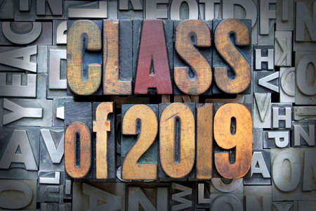 2019 ビンテージ活版型で記述されたクラス 写真素材