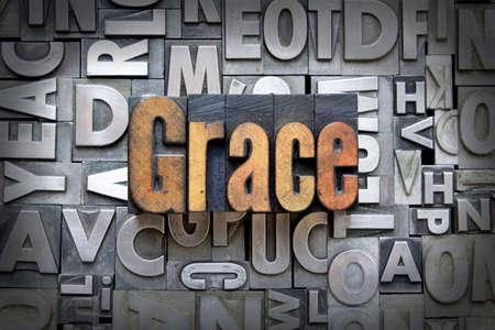 letterpress  type: Grace written in vintage letterpress type