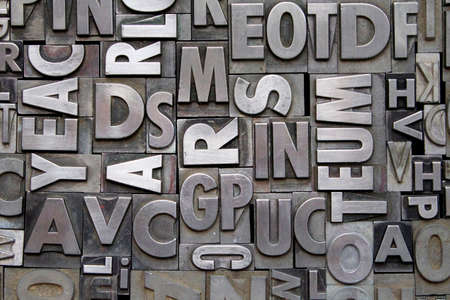 metal alphabet: A background of vintage metal letterpress type