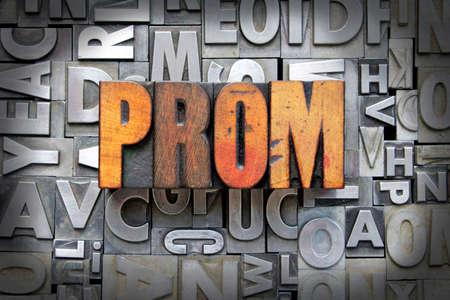 yearbook: Prom written in vintage letterpress type