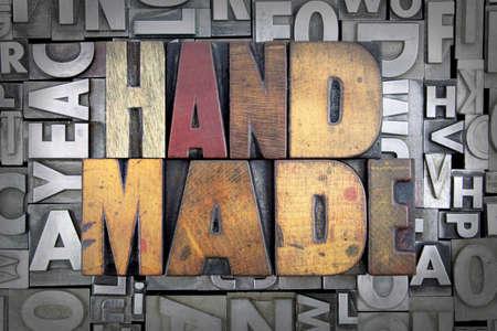 Hand Made written in vintage letterpress type