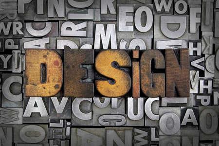 letterpress letters: Design written in vintage letterpress type