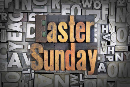 easter sunday: Easter Sunday written in vintage letterpress type Stock Photo