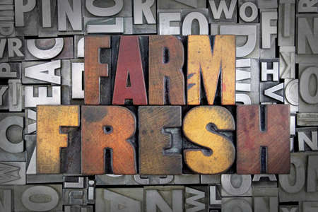 Farm Fresh scritto in vintage Stampa tipografica tipo photo