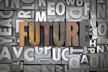 Future written in vintage letterpress type Stock Photo - 24959434