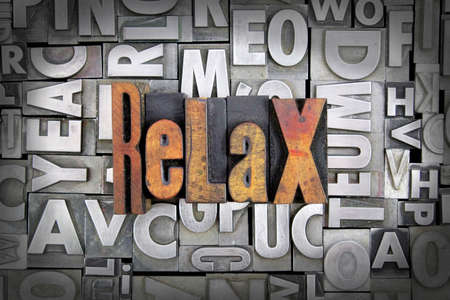 Relax written in vintage letterpress type Stock Photo - 24959448