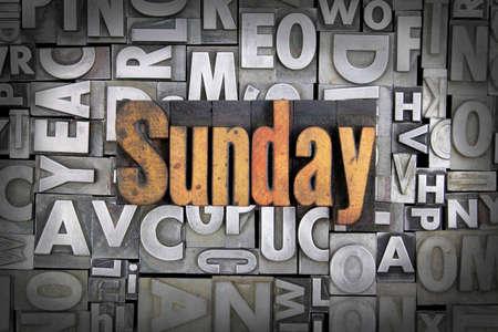 Sunday written in vintage letterpress type Stock Photo - 24959451