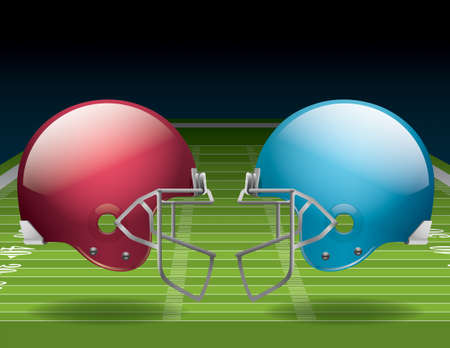 A vector illustration of an American Football field and helmets