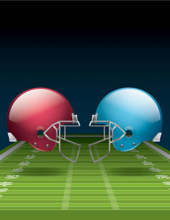 A vector illustration of an American Football field and helmets.  Illustration