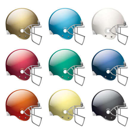 gridiron: A set of American football helmets in different colors.   Illustration