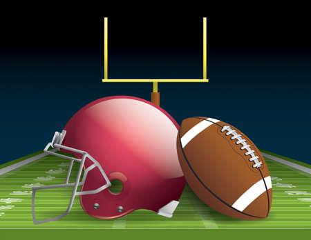 Illustration of an American football helmet, ball, and field.  Illustration
