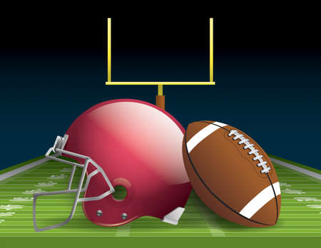 Illustration of an American football helmet, ball, and field.  Illustration