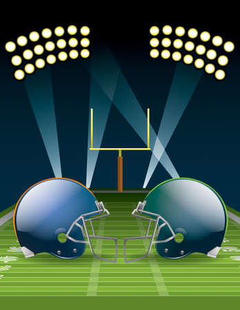 Illustration of American football helmets on a field.  Vector