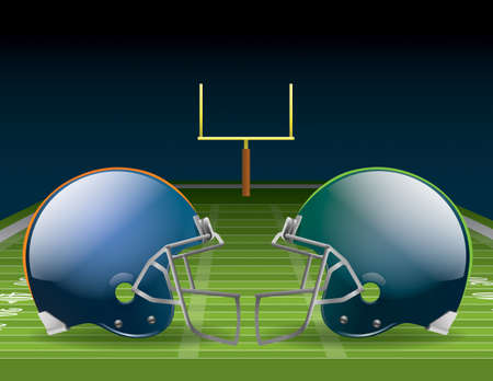 Illustration of American football helmets on a field.
