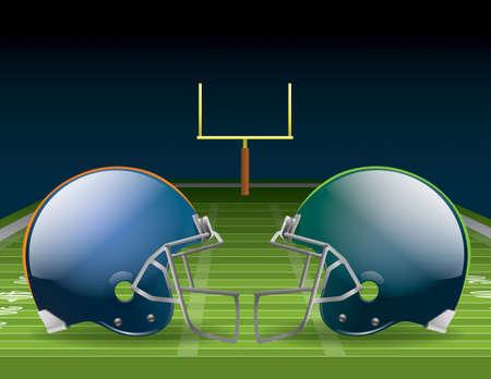 campo di calcio: Illustrazione di caschi da football americano su un campo.