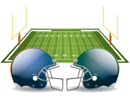 campo di calcio: illustrazione di caschi da football americano su un campo. file contiene trasparenze e gradiente maglie nelle dropshadows. Vettoriali