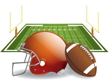 campeonato de futbol: ilustraci�n del casco de f�tbol americano y el bal�n en un campo. archivo contiene transparencias y malla de degradado en dropshadows.