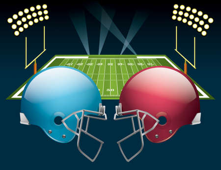 illustration of american football helmets on a field. file contains transparencies. Vector