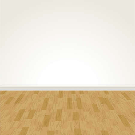 hardwood flooring: Векторные иллюстрации пустой стены и лиственных пород. EPS 10.