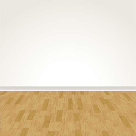 interior decorating: Una illustrazione vettoriale di un muro e pavimento in legno bianco. EPS 10. Vettoriali