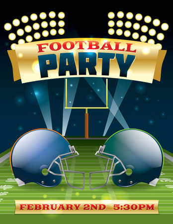 football party: A flyer design perfect for tailgate parties, football invites, etc. Vector EPS 10 available. EPS file contains transparencies and gradient mesh. Text in EPS is layered for easy removal and customizing of your text.  Fonts used:  http:www.fontsquirrel.co
