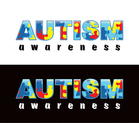 The phrase Autism Awareness written in jigsaw puzzle pieces. Autism Awareness colors and symbols, conveniently provided on a light and dark background. Vector EPS 10 available.