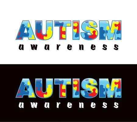 """Wyrażenie """"Autism Awareness"""", napisany w kawałki puzzli. Kolory Autyzmu i symbole, dogodnie umieszczone na świetle i ciemnym tle. Wektor EPS 10 dostępne. Ilustracje wektorowe"""