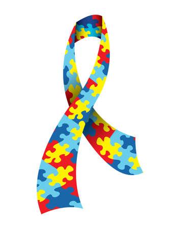 自閉症の色で象徴的なジグソー パズルのパターンで作られた、自閉症意識リボンのベクター イラスト。ベクトル EPS 10 利用できます。EPS ファイルに  イラスト・ベクター素材