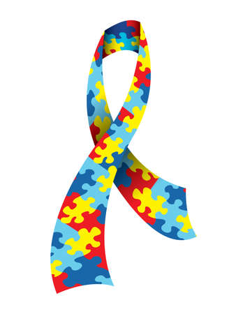 A vector illustration of an Autism Awareness Ribbon made with a symbolic jigsaw puzzle pattern in autism colors. Vector EPS 10 available. EPS file contains transparencies. Illustration