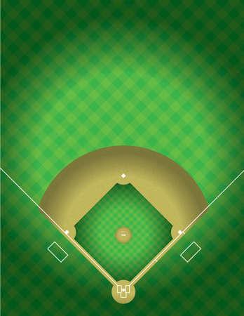 Een vector illustratie van de arial weergave van een honkbalveld. EPS 10. Bestand bevat transparanten.