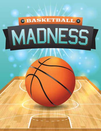 terrain de basket: Une illustration de vecteur d'un ballon de basket sur un terrain de feuillus.