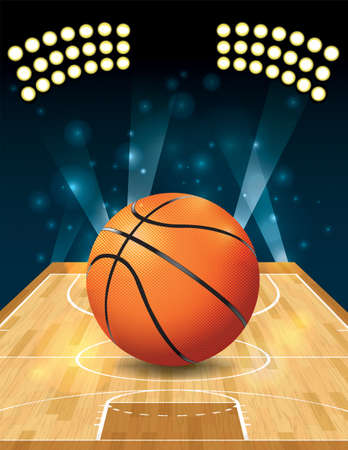 An illustration of a basketball on a hardwood court.  Illustration