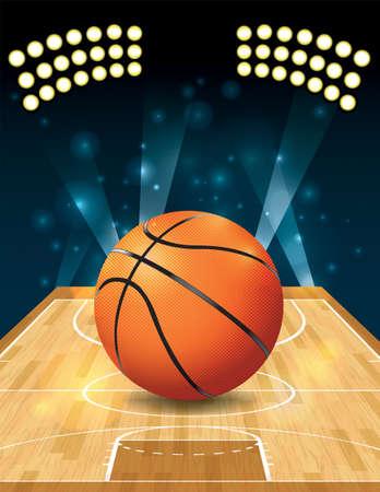 Una ilustración de una pelota de baloncesto en una cancha dura.