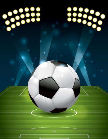 現実的なサッカー - テクスチャ草の運動場でサッカー ボール。