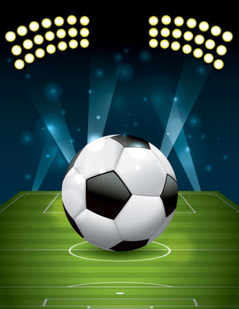 soccer field: A realistic football - soccer ball on a textured grass playing field.  Illustration