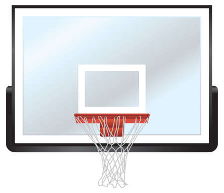 A vector illustration of a basketball hoop and glass backboard.