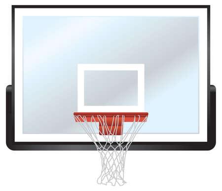 Een vector illustratie van een basketbal hoepel en glas bord.