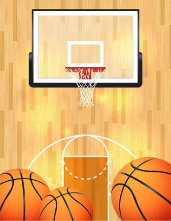 wood texture background: An illustration of a basketball court, balls, and hoop.