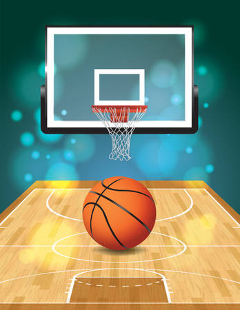 An illustration of a basketball court, ball, and hoop.