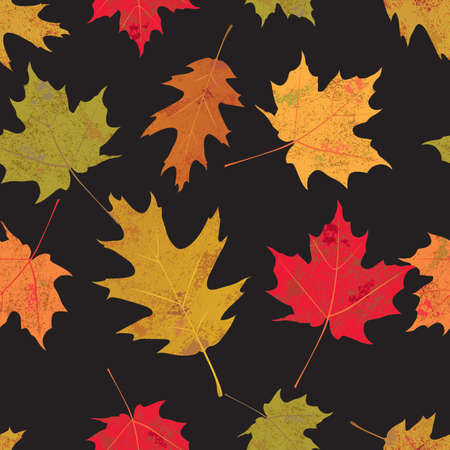 A seamless tileable illustration of colorful autumn leaves against a black background. Vector