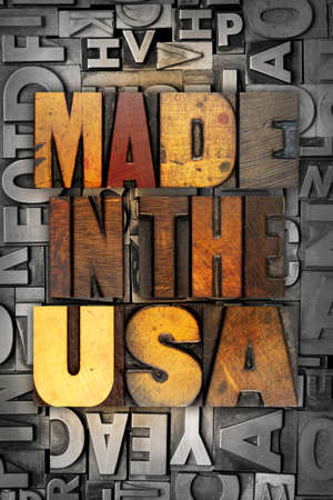 The words MADE IN THE USA written in vintage letterpress type