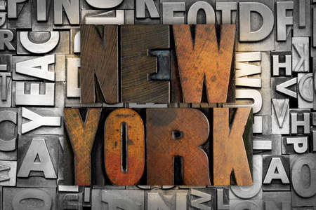 The name NEW YORK written in vintage letterpress type photo