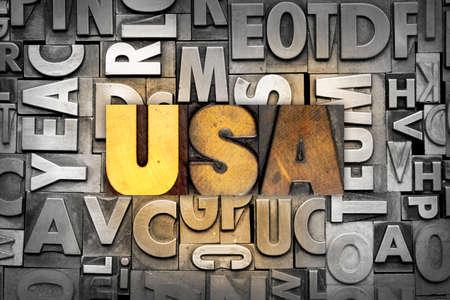 letterpress letters: The letters USA written in vintage letterpress type